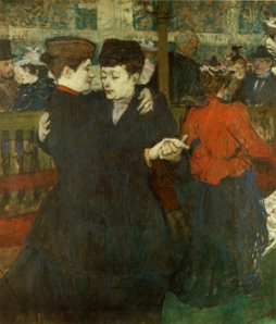 At the Moulin Rouge: Two women waltzing -- Henri de Toulouse-Lautrec
